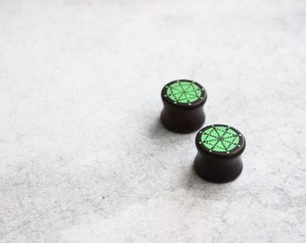 SALE, Wooden ear plugs, ear stretchers, geometric plugs, earstuds, gauges, tunnels, hipster earplugs, mandala stretchers, green plugs, 14MM