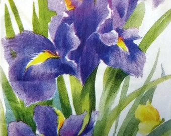 Two (2) Iris Flowers, Purple Flowers, Paper Hostess Napkins for Decoupage and Paper Crafts