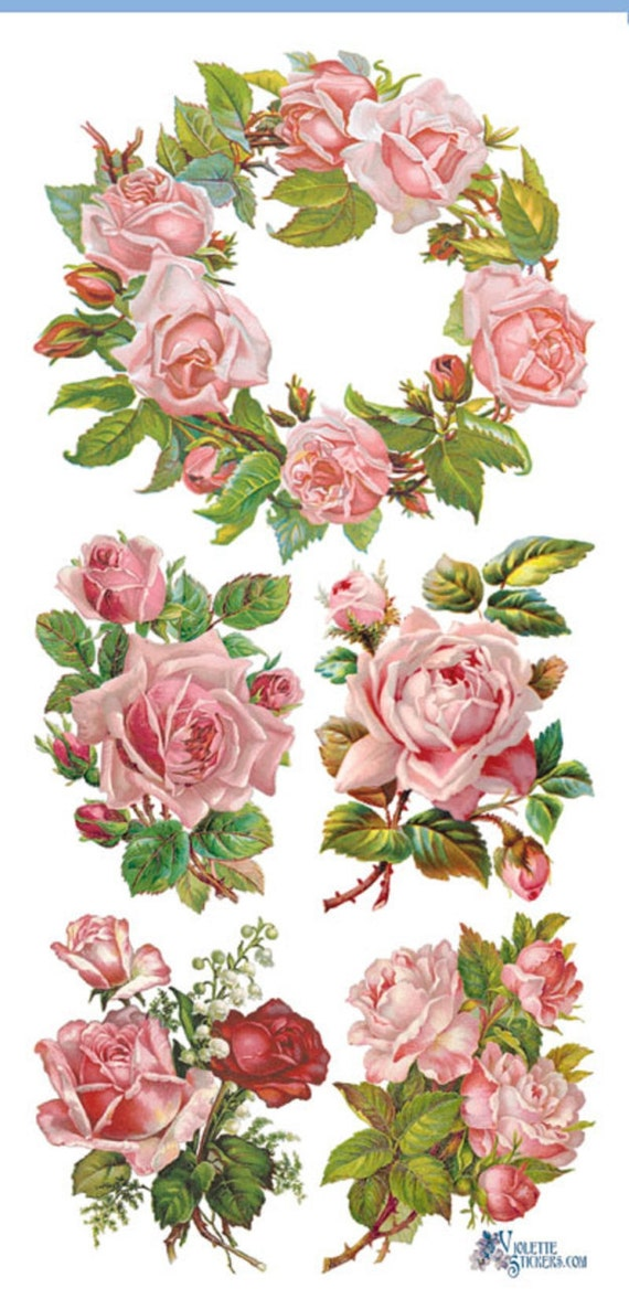 Stickers-PINK ROSE WREATHS Decoupage-Collage-Mixed