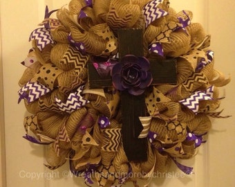 burlap cross wreath with purple accents