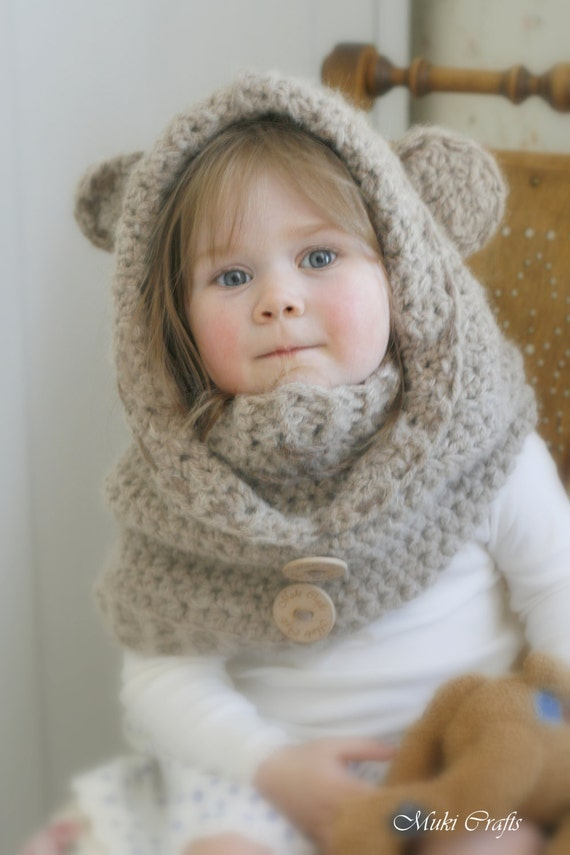 Crochet Baby Bear Cowl Pattern : CROCHET PATTERN bear hooded cowl Jacob with a inner by ...