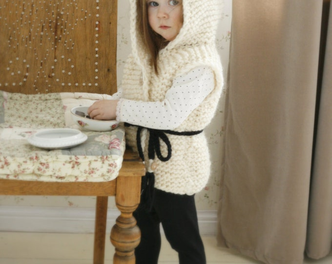 KNITTING PATTERN hooded cardigan vest Sheep Sheridan (2-3y/4-5y/6-7y/8-10y/11-12y sizes)