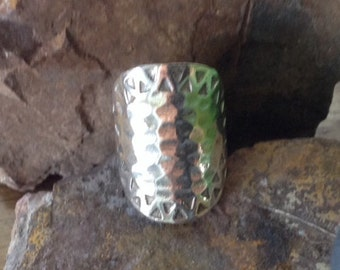 Stunning Hammered Wide Sterling Silver Ring ~ Make a Statement