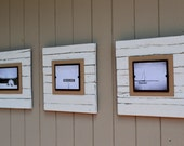 """Set of 3 Large 8x10 Reclaimed Wood Frame - Weathered White - Distressed 23x23"""" overall - Beach frame"""