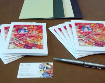 Blank notecards of a scrub jay in autumn watercolor