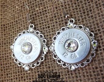 Bullet Jewelry - Shotgun Jewelry - Silver Shotgun Earrings - Brass Bullet Filigree - Country Jewelry - Wedding Gun Jewelry - Pistol Ammo