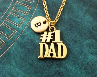 Number One Dad Necklace Dad Jewelry Gold Father's Day Necklace Personalized Father's Day Jewelry Father Necklace #1 Dad Gift Best Dad Gift