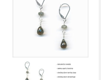 Yvesdrop_25: labradorite rondelle; smoky quartz teardrop; sterling silver clasp; sterling silver wire workage