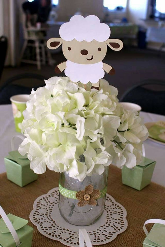 lamb baby shower 5 lamb centerpiece stakes lamb party lamb