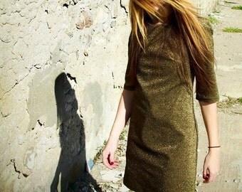 Golden Dress// Party Mini Dress /// Golden Metallic//60s Cut//Silver Decorative Discoball Zippers