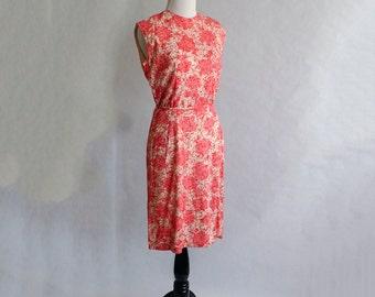 1960s Red Splatter Sleeveless Dress 60s Pink Shift Sheath