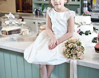 Holli Lace, Flower girl dress - Ivory silk dupion