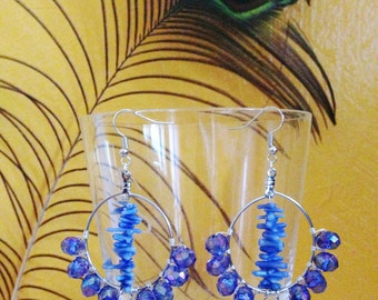 Pretty in Blue earrings silver with bamboo coral (dyed)