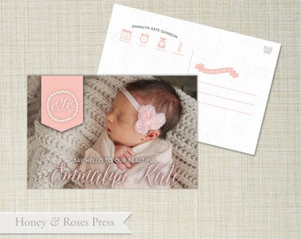 Baby Birth Announcement . Girl Baby Announcement . Post Card Birth Announcement  .  Digital File . Photo Birth Announcement