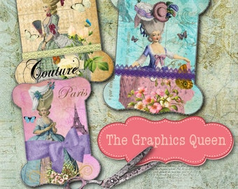 Vintage Marie Antoinette Shabby Chic French Images Digital Lace Ribbon Holder Instant Download Digital Collage Sheets