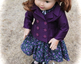 American Made 18 Inch Doll Clothes - Purple Fully Lined Peacoat - 18 Inch Doll Coat/Jacket - Girl Doll Clothes - Doll Piccadilly Peacoat