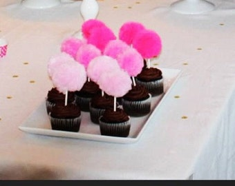 Tulle Pom Cupcake Toppers - 1 DZ