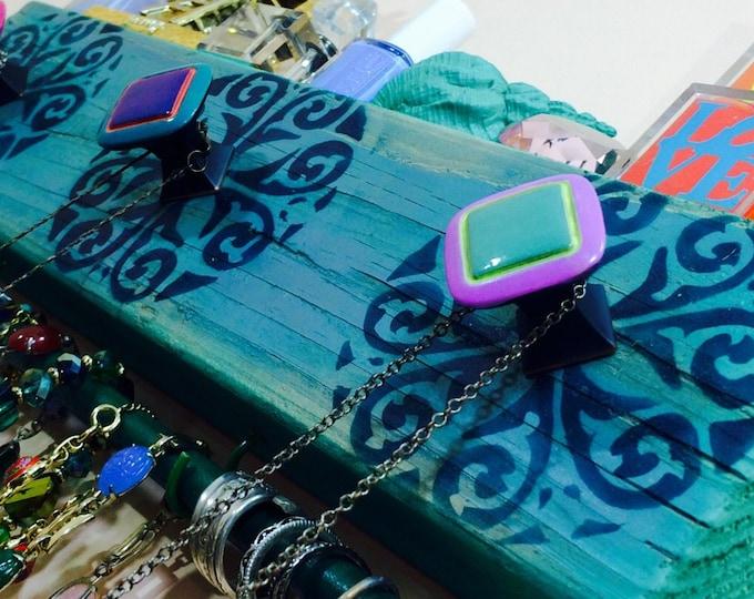 Necklace holder /reclaimed wood wall art /hanging decor /makeup organizer /scarf hanger /jewelry storage teal bracelet bar 2 hooks 3 knobs