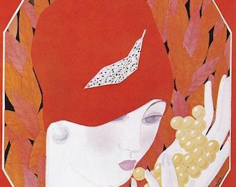 Vogue Magazine Cover art deco art nouveau home decor print fine art fashion vintage from 1981