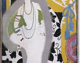 Vogue Magazine Cover 1921 art deco art nouveau home decor print fine art fashion vintage from 1981, 8.5 x 11.5 inches
