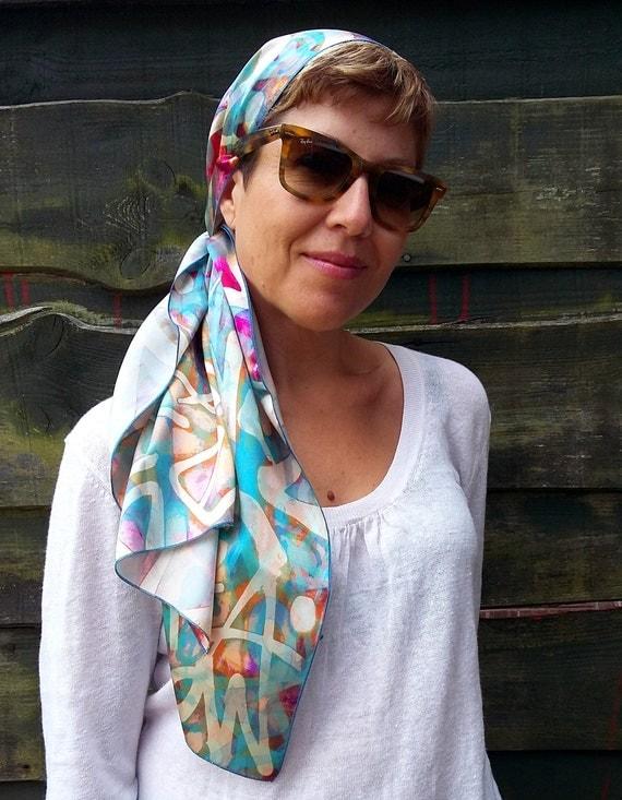 satin silk headscarf abstract blue silk scarf for hair by