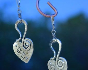 Silver antiqued heart earrings