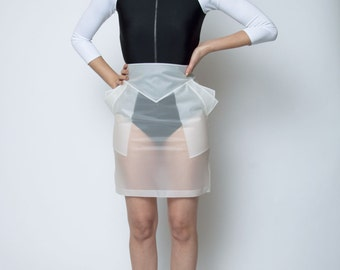 SUBLIMINAL SKIRT - Clear Rubber - Pencil - Geometric - Futuristic - PVC - Vinyl - Cyber - Techno - Space Age - Transparent Plastic - Pockets