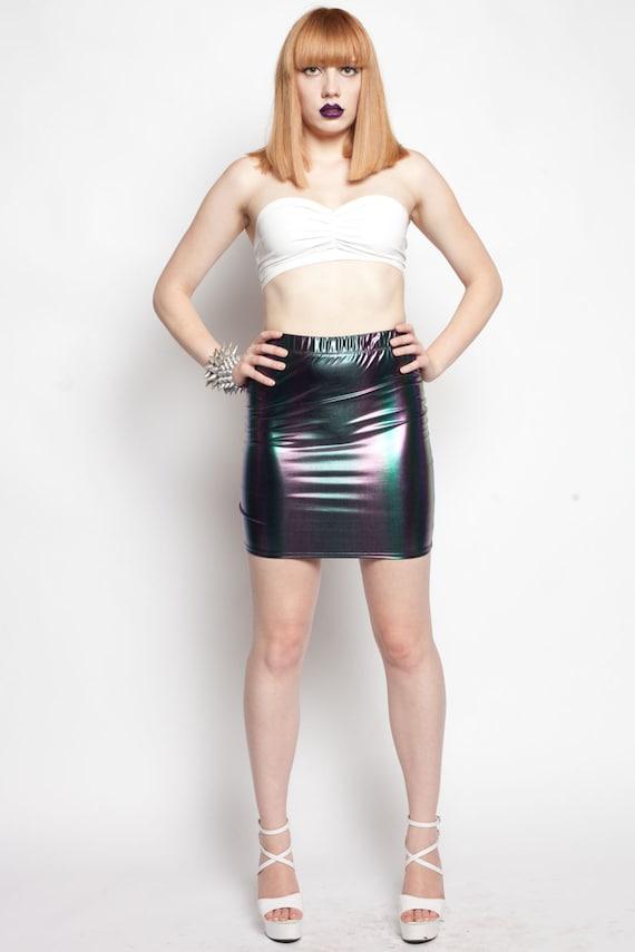 OIL SLICK Rainbow Spandex Mini Skirt Shiny Clubwear Dance