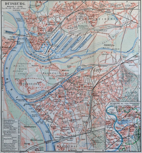 Duisburg map at the end of the 19th. Old book plate, 1904. Antique  illustration. 110 years lithograph. 9'6 x 9'2 inches.