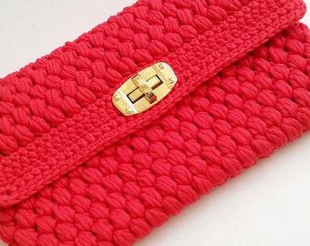 HANDMADE CROCHET BAG - Cluch- Summer Bag- Handbag- Red Bag