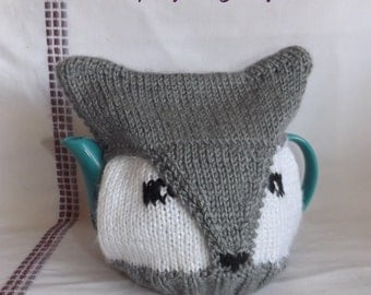 Knit Wolf or Fox Teapot Cozy - Knit Teapot Cosy - Knitted Tea Cosy - Knit Teapot Cover