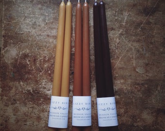 """Beeswax Tapers, One Pair Candles, 12"""" Tapered Candles, Beeswax Candles, Custom Colors, Many Colors, Brown Candles"""