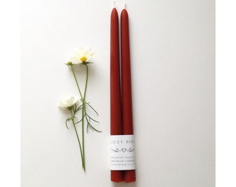 Beeswax Candles, Beeswax Tapers, Standard Size Tapers, 12 inch Tapers, Custom Color Candles, Rust Red, Bittersweet Brown, Dark Orange