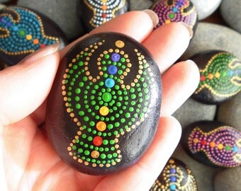 """Hold Me Tight Stone """"Guardian Angel"""", dot painted"""