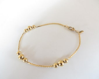 Vintage Monet Gold Tone Beaded Bracelet
