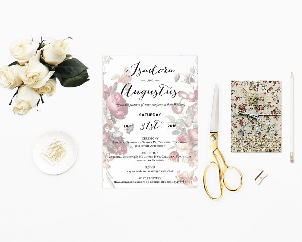 Diy romantic calligraphy wedding invitation with garden flower