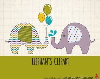 """Elephants clip art pack """"ELEPHANTS CLIPART"""" with 12 pretty patterned elephants in pretty color combinations, with balloons and hearts (5024)"""