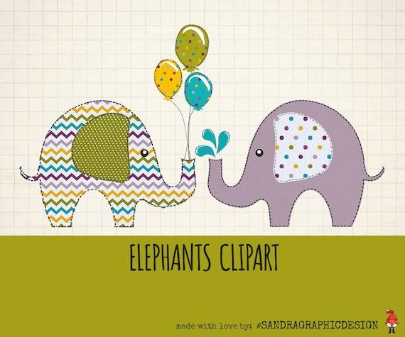 Elephants clip art pack ELEPHANTS CLIPART with 12