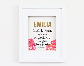 Spanish Bible Verse , Spanish print , Customized nursery print ,Customized name, size 8x10