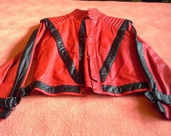 MICHAEL JACKSON Vintige 1984 THRILLER Jacket Genuine Leather made by( Florezi Leathers) Size 42 Blk/Red( Free Shipping)