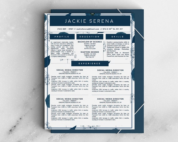Jackie Serena Beautiful Modern Resume CV Template with Matching Cover ...