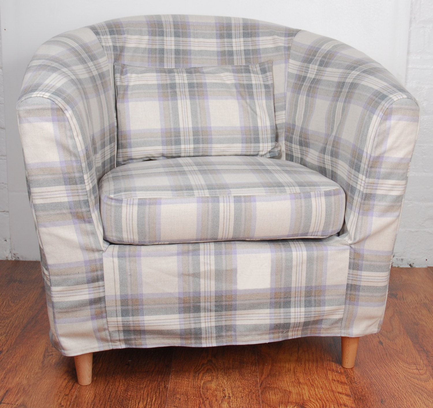 slip cover for the ikea ektorp tullsta tub chair grey tartan. Black Bedroom Furniture Sets. Home Design Ideas