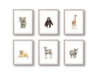 Safari Nursery Art, Set of 6 Prints, Animal Paintings, Elephant, Giraffe, Zebra, Lion, Rhino, Monkey, Jungle, Gender Neutral Baby, Zoo