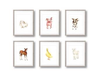 Baby Farm Animal, Set of 6 Prints, Nursery Art, Pig, Lamb, Bunny, Horse, Duck, Cow, Farmyard Prints, Kids Art, Toddler Wall Decor, Baby