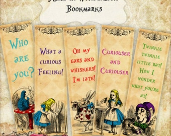 Alice in Wonderland Bookmarks, Set of 8 Bookmarks, Alice Printable, Wonderland Digital bookmarks, INSTANT DOWNLOAD