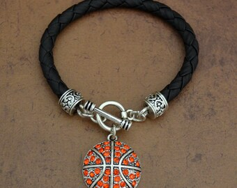 Basketball  Leather Toggle Bracelet