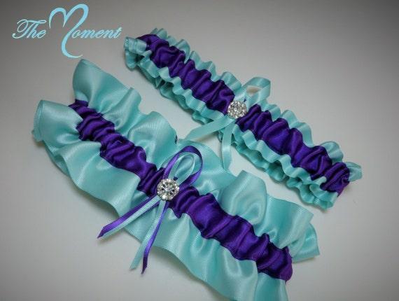 Aqua And Purple Garter Set Wedding Garter Bridal Garter