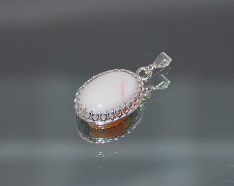 White Agate Pendant set in Sterling Silver Gallery Wire Bezel