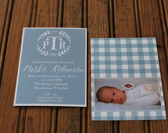 Monogrammed + Branch Light Blue Baby Boy Announcements-FREE SHIPPING or DIY printable