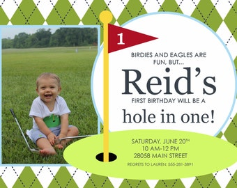 Hole in One golf birthday party invitation-FREE SHIPPING or DIY printable